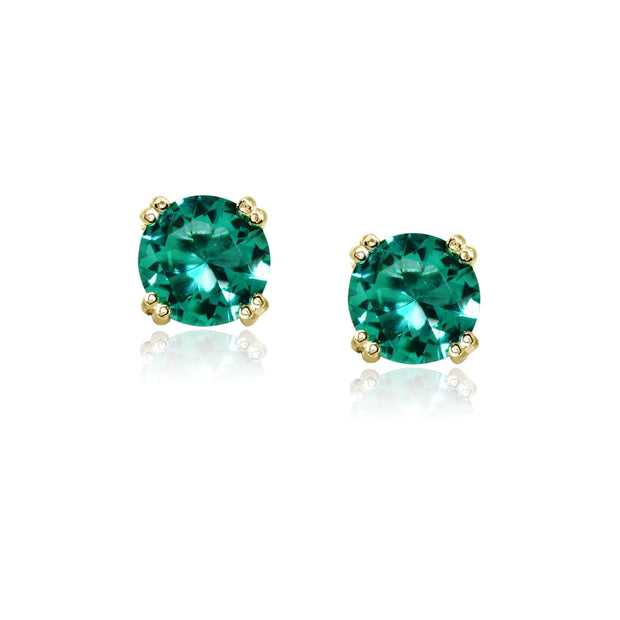 Yellow Gold Flashed Sterling Silver Teal Glass 8mm Round Solitaire Small Stud Earrings