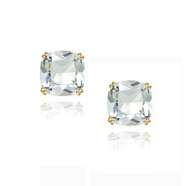 Yellow Gold Flashed Sterling Silver Clear Crystal 10mm Cushion-Cut Solitaire Small Stud Earrings