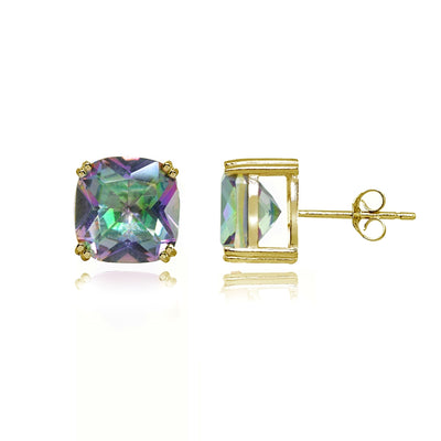 Yellow Gold Flashed Sterling Silver Simulated Mult Colored Topaz 10mm Cushion-Cut Solitaire Small Stud Earrings
