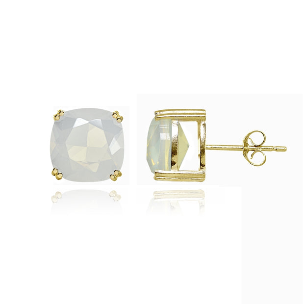 Yellow Gold Flashed Sterling Silver Simulated White Opal 10mm Cushion-Cut Solitaire Small Stud Earrings