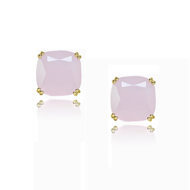 Yellow Gold Flashed Sterling Silver Pink Crystal 10mm Cushion-Cut Solitaire Small Stud Earrings