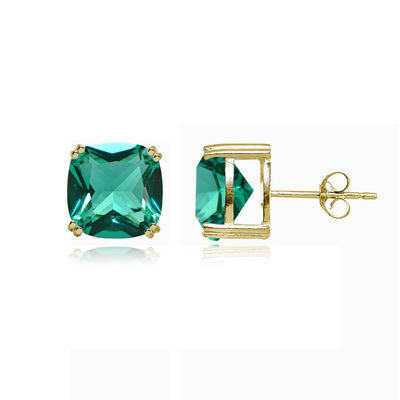 Yellow Gold Flashed Sterling Silver Teal Glass 10mm Cushion-Cut Solitaire Small Stud Earrings