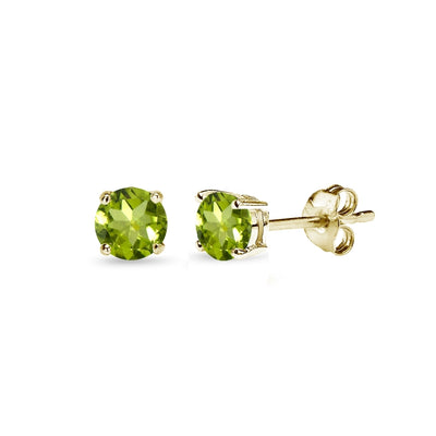 Yellow Gold Flashed Sterling Silver Peridot 4mm Round-Cut Solitaire Stud Earrings