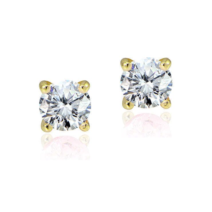 Gold Tone over Sterling Silver 1/2ct Cubic Zirconia 4mm Round Stud Earrings