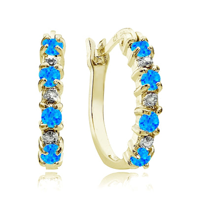Gold Tone over Sterling Silver Created Blue Opal and Diamond Accent Hoop Earrings