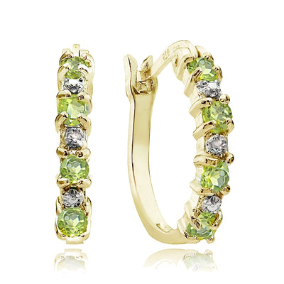 Gold Tone over Sterling Silver Peridot & Diamond Accent Hoop Earrings