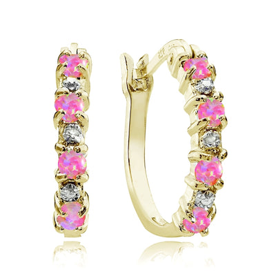 Gold Tone over Sterling Silver Created Pink Opal and Diamond Accent Hoop Earrings