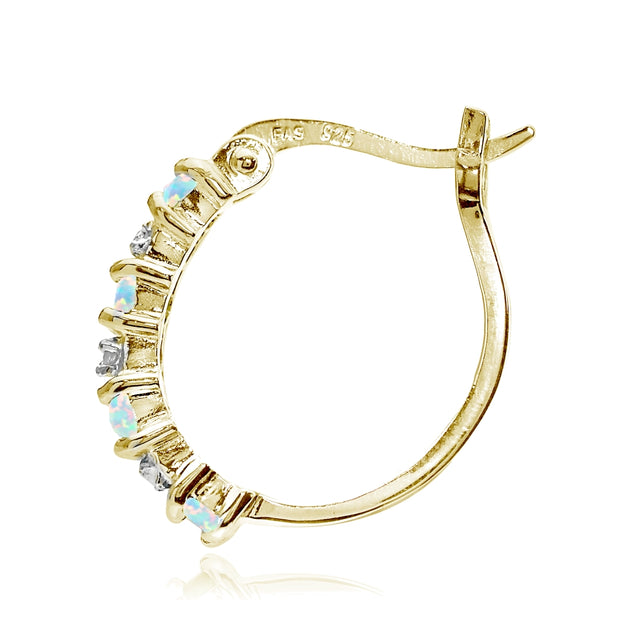 Gold Tone over Sterling Silver Created Opal and Diamond Accent Hoop Earrings