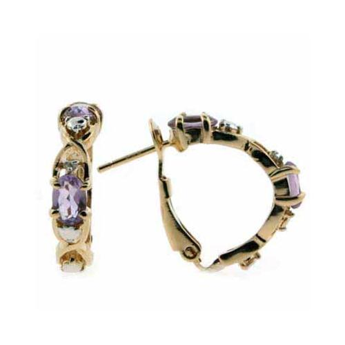 18K Gold over Sterling Silver Amethyst & Diamond Accent X & O Earrings