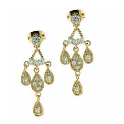18K Gold over Sterling Silver CZ Teardrop Chandelier Earrings