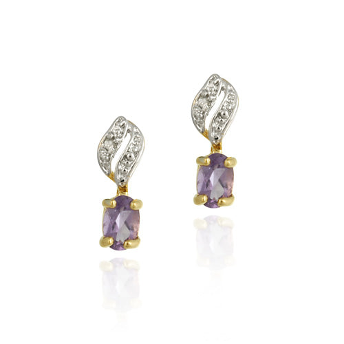 18K Gold over Sterling Silver Amethyst & Diamond Accent Drop Earrings