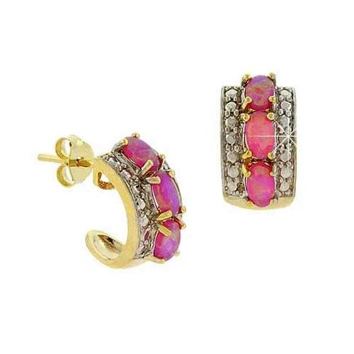 18K Gold over Sterling Silver Diamond Accent & Created Pink Opal Half Hoop Earrings