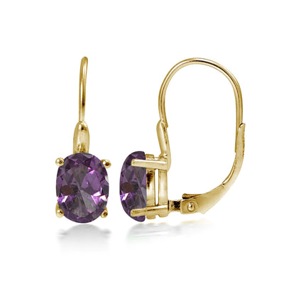 Yellow Gold Flashed Sterling Silver Simulated Alexandrite 8x6mm Oval Leverback Earrings