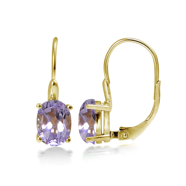 Yellow Gold Flashed Sterling Silver Amethyst 8x6mm Oval Leverback Earrings