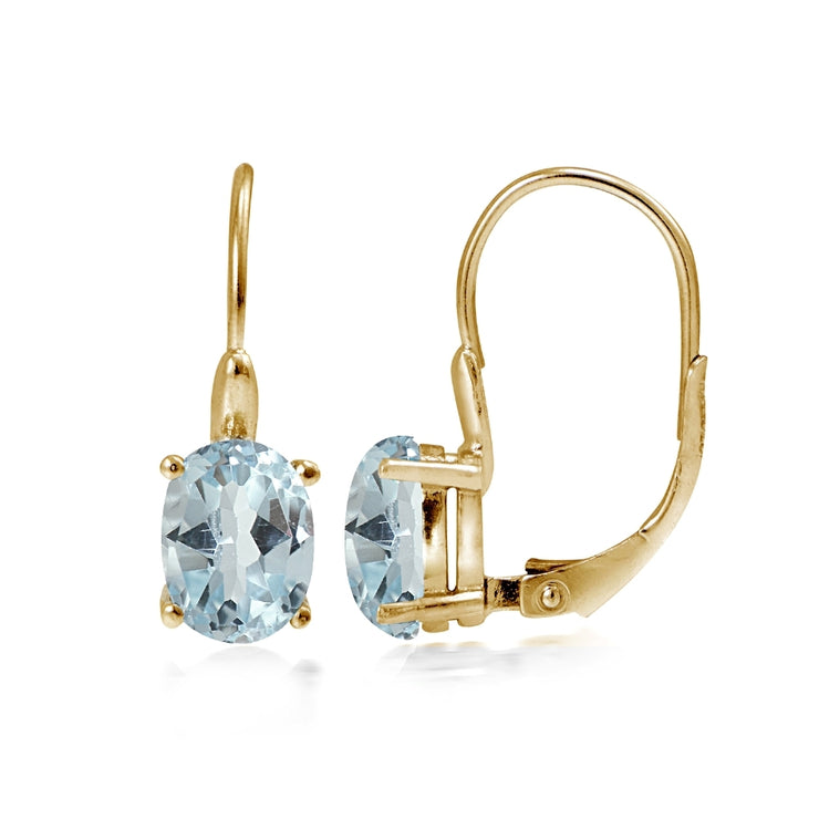 Yellow Gold Flashed Sterling Silver Blue Topaz 8x6mm Oval Leverback Earrings