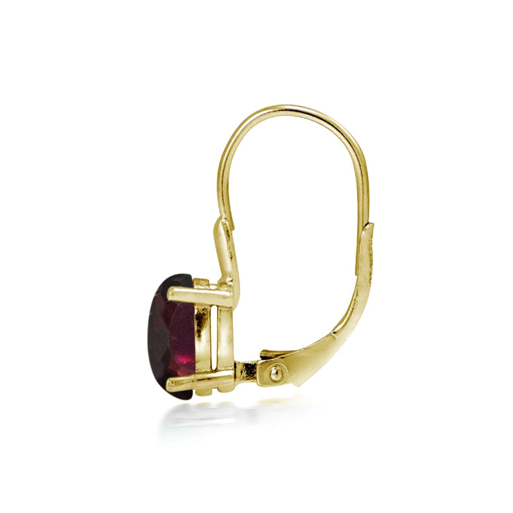 Yellow Gold Flashed Sterling Silver Garnet  8x6mm Oval Leverback Earrings