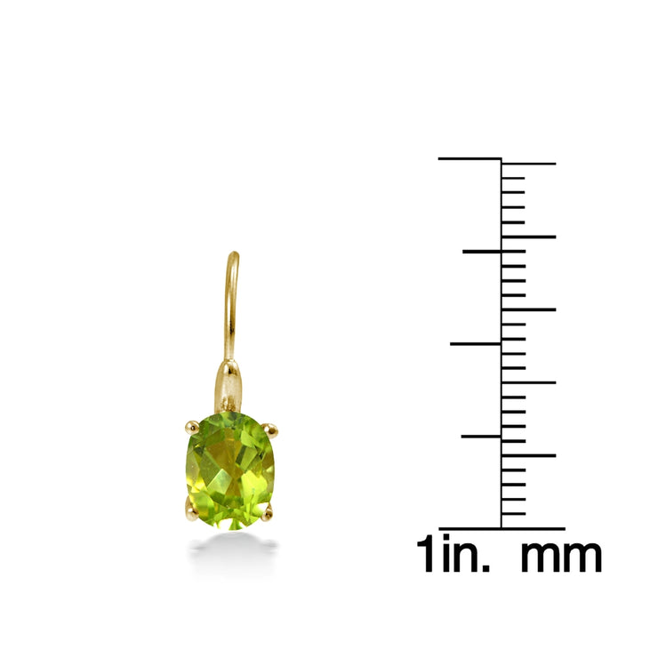 Yellow Gold Flashed Sterling Silver Peridot 8x6mm Oval Leverback Earrings