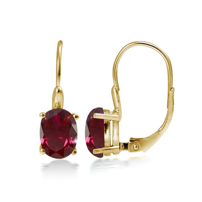 Yellow Gold Flashed Sterling Silver Created Ruby 8x6mm Oval Leverback Earrings