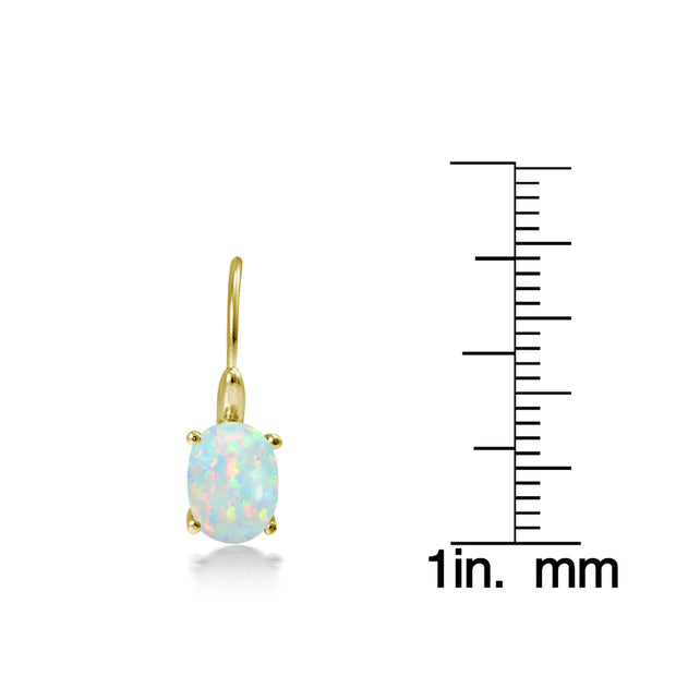 Yellow Gold Flashed Sterling Silver Created Opal 8x6mm Oval Leverback Earrings