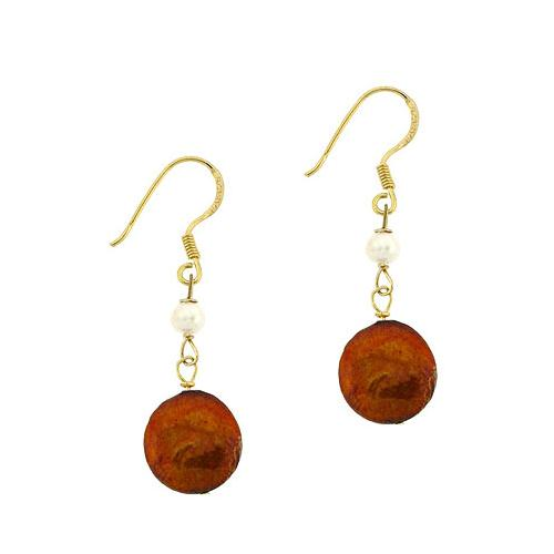 18K Gold over Sterling Silver Freshwater Cultured Amber Coin Pearl Earrings