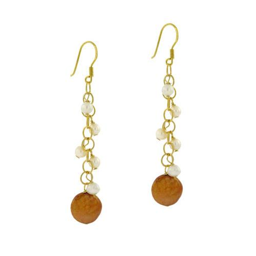 18K Gold over Sterling Silver Freshwater Cultured Golden & White Coin Pearl Dangle Earrings