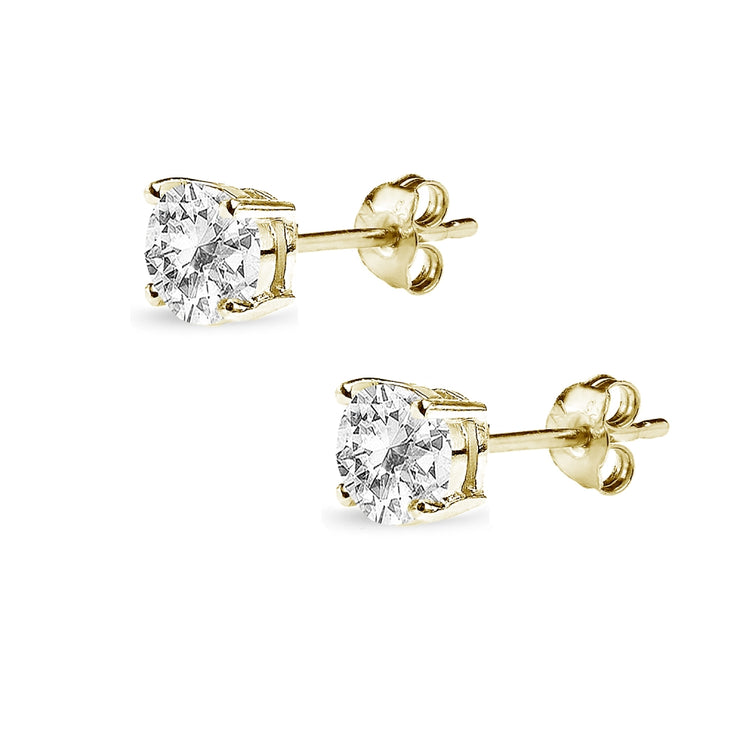 Yellow Gold Flashed Sterling Silver White Topaz 5mm Round-Cut Solitaire Stud Earrings