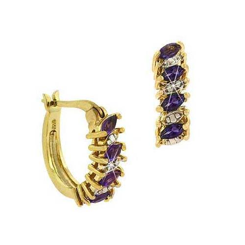 18K Gold over Sterling Silver Amethyst & Diamond Accent Hoop Earrings