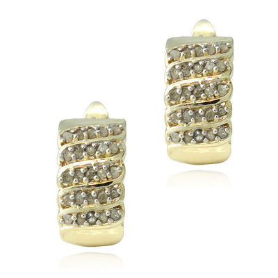18K Gold Plated 1/2ct Diamonds Huggie Earrings