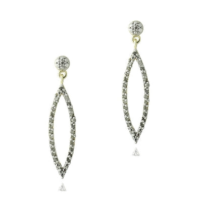 18K Gold Plated 1/2ct Diamond Open Marquise Dangle Earrings