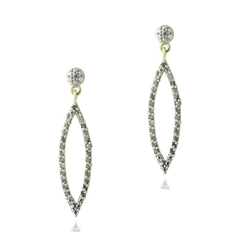 18K Gold Plated 1/2 ct Diamond Open Marquise Dangle Earrings