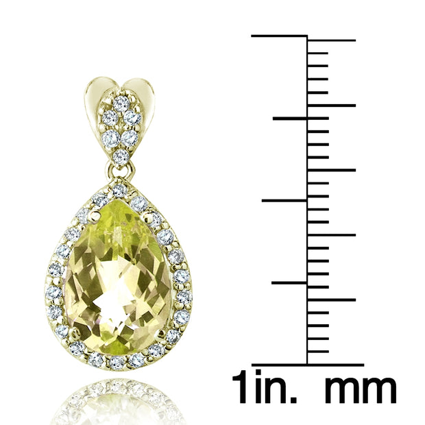 Gold Tone 5.5ct Citrine & CZ Teardrop Dangle Earrings