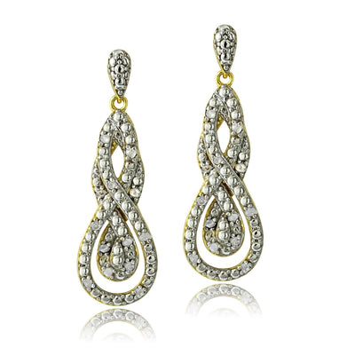 Gold Tone 1/4 Ct Diamond Intertwining Infinity Dangle Earrings