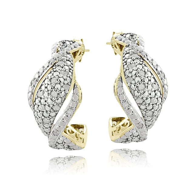 Gold Tone 1/4 Ct Diamond Twist Half Hoop Earrings