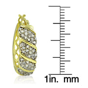 18K Gold Tone Plated 1.00ct TDW Diamond Fancy Hoop Earrings