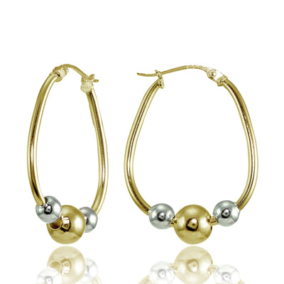Yellow Gold Flashed Sterling Silver Two-Tone Polished Beaded 18mm Hoop Earrings