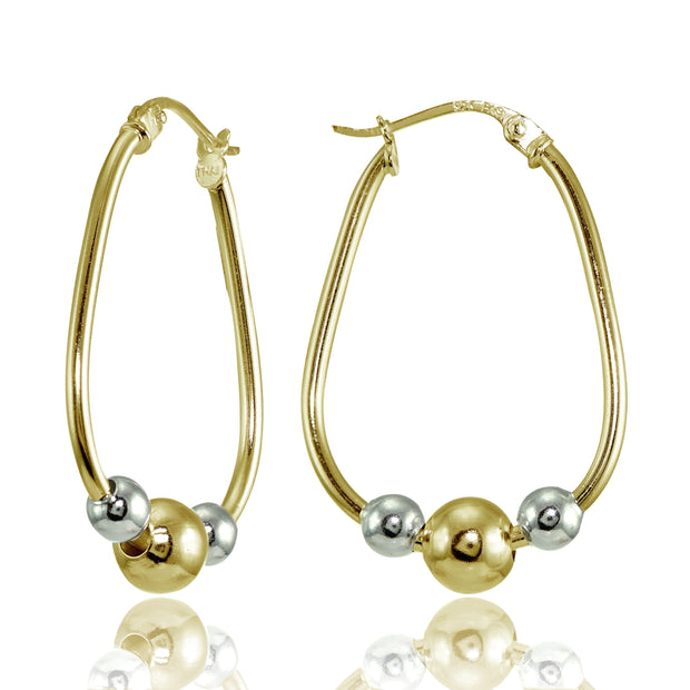 Yellow Gold Flashed Sterling Silver Two-Tone Polished Beaded  Hoop Earrings