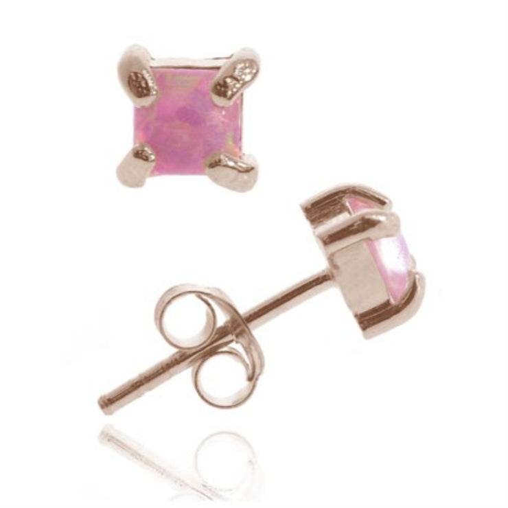 18K Rose Gold over Sterling Silver Pink Opal Square Stud Earrings, 4mm