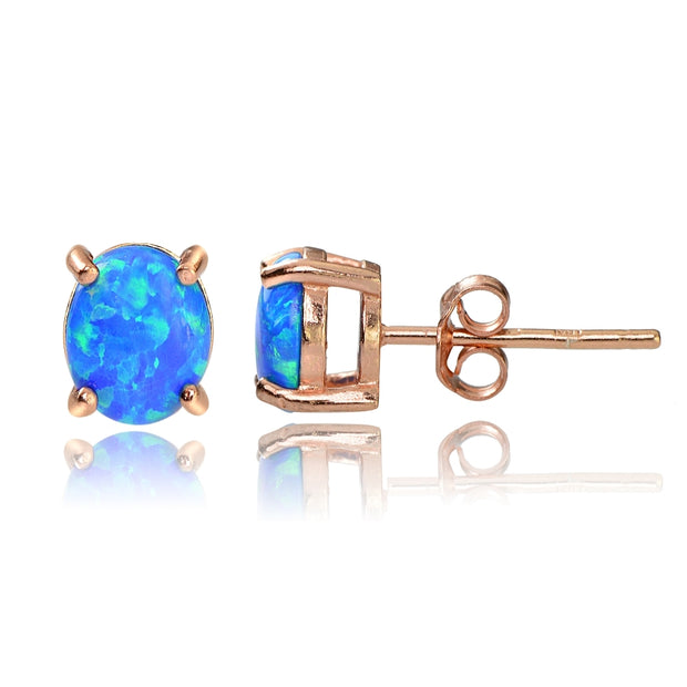 Rose Gold Tone over Sterling Silver Created Blue Opal 6x4 Oval Stud Earrings