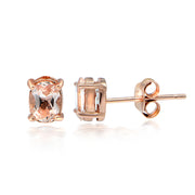 18K Rose over Silver 0.60ct Morganite 6X4 Oval Stud Earrings