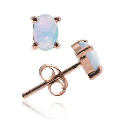 18K Rose Gold over Sterling Silver Created White Opal 6x4 Oval Stud Earrings