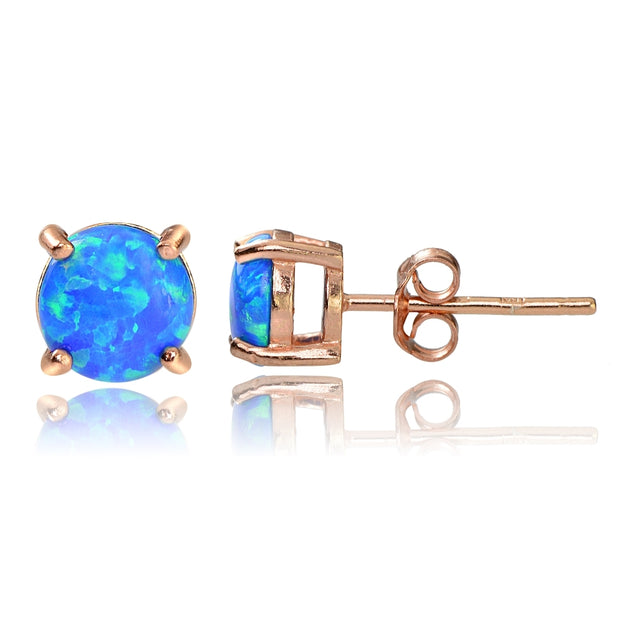 Rose Gold Tone over Sterling Silver Created Blue Opal  6mm Round Stud Earrings