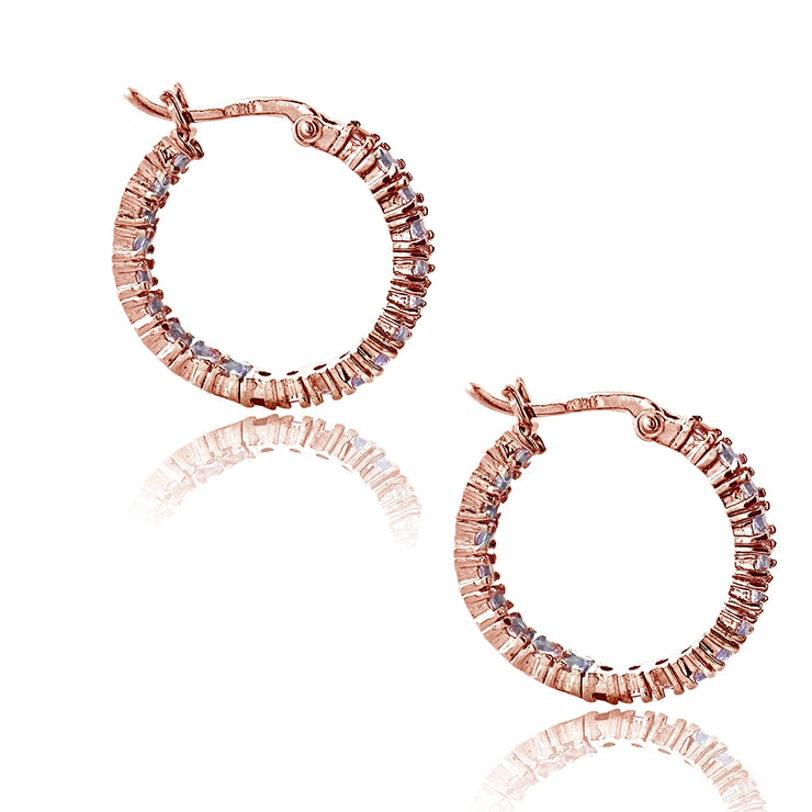 Rose Gold Tone Over Sterling Silver Amethyst Inside Out Hoop Earrings