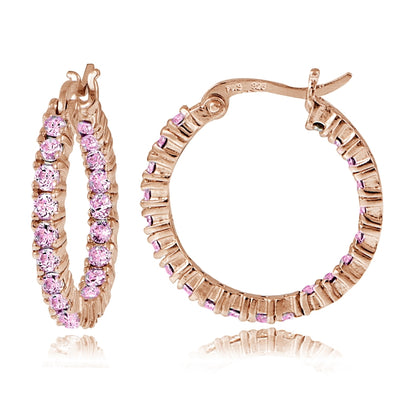 Rose Gold Flash Sterling Silver Pink Cubic Zirconia 3mm Round Hoop Earrings, 20mm