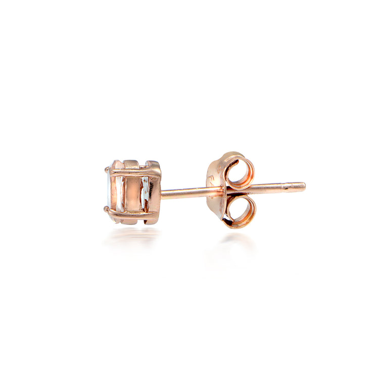 18K Rose Gold over Silver 0.45ct Morganite 4mm Round Stud Earrings