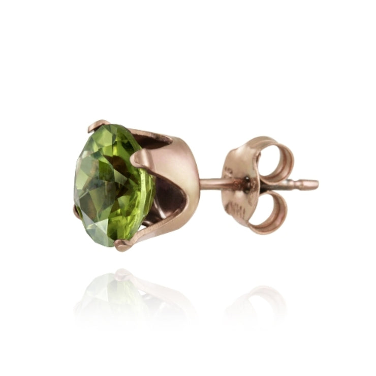 18K Rose Gold over Sterling Silver 2.5ct Peridot Stud Earrings, 7mm