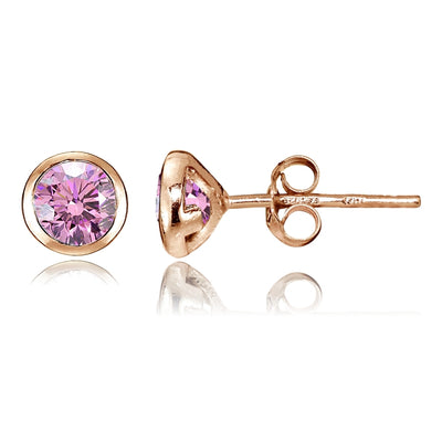 Rose Gold Tone Over Sterling Silver Pink Cubic Zirconia Bezel Martini Set Stud Earrings