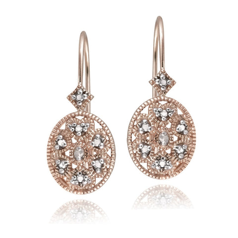 Rose Gold Flashed Sterling Silver Oval Filigree Diamond Accent Leverback Drop Earrings, JK-I3