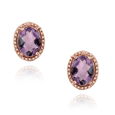 18K Rose Gold over Sterling Silver 3.3ct Amethyst & Diamond Accent Oval Earrings
