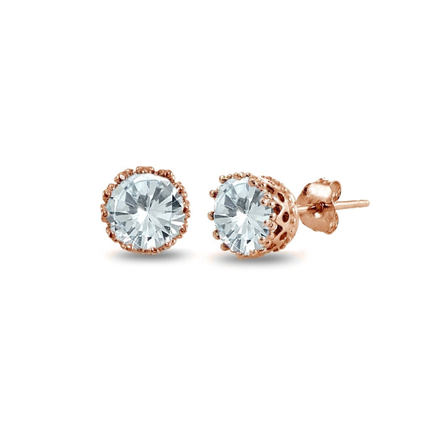Rose Gold Flashed Sterling Silver Created Aquamarine Crown Stud Earrings