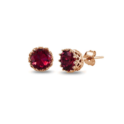 Rose Gold Plated Sterling Silver Created Ruby Crown Stud Earrings